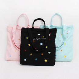 Скидка большие отпечатки на холсте Высокое качество нового 100% Canvas Молния Totes Cartonn Вселенная печати Женщины сумки на ремне большой емкости Топ-ручки сумки