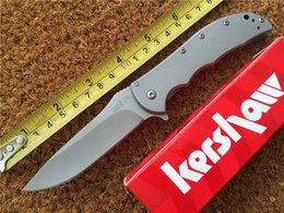 Wholesale Kershaw Volt SS A O Knife Stainless Steel Bead Blast SS Folding blade knife Cr13MOV steel Survival knives Folder with retail box