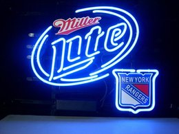 NEW YORK RANGERS MILLER LITE BEER Real Glass Neon Light Sign Home Beer Bar Pub Recreation Room Game Room Windows Garage Wall Sign