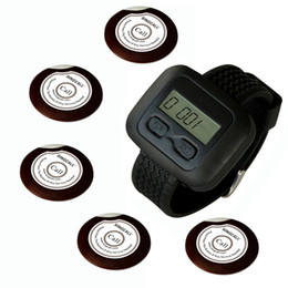 SINGCALL.wireless waiter pager calling system for coffee shop, restaurant, hotel.5pcs of table buttons and 1 pc of wrist watch reciever