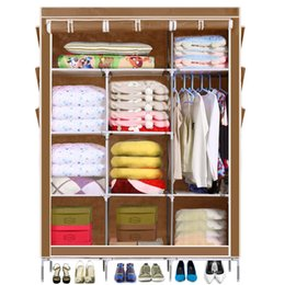Wholesale 5 Color Homdox Portable Closet Storage Organizer Wardrobe Clothes Rack With Shelves Cover Pockets Shipping From US