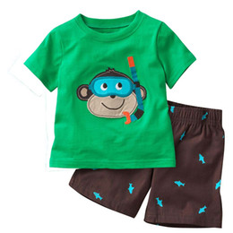 54Sets Wholesale Children Clothes Sets Summer Beach Boy outfits Cotton Top Quality Embroidery Logo Kids T-Shirts Jersey Shorts Pants