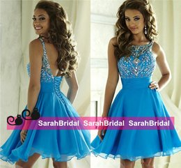 Wholesale Cute Blue Crystal Short Dresses Homecoming Bateau Beading Backless Corset Chiffon th Grade Graduation Gowns Cocktail Junior Prom Wear