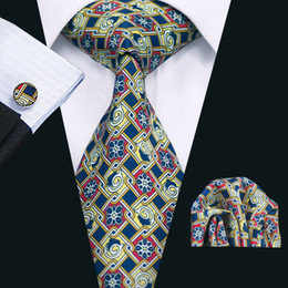 New Arrival Wedding Tie with Cufflinks Hanky Men's Classic Stylish Blue Yellow Flower Tie Formal Business Wide Tie N-1270