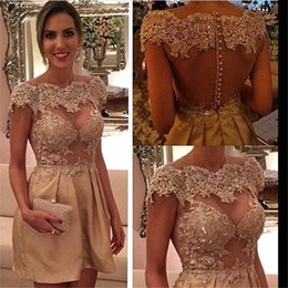 2016 New Sexy Cocktail Dresses Bateau Illusion Cap Sleeves Lace Appliques Beads Short Homecoming Dress Party Dress Prom Gowns For Women
