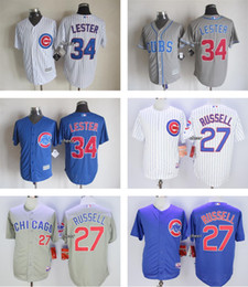 Men's Chicago Cubs #27 Addison Russell #34 Jon Lester White Grey Blue Stitched Authentic Cool Baseball Jersey Top Quality Cheap jerseys