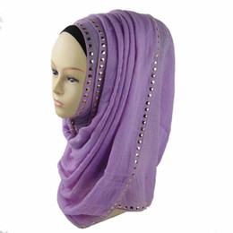 Wholesale Spring Winter scarf fashion long gold stone scarves cotton abaya niqab hijab for women x70cm colors