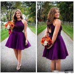 Fashion Grape Purple Short Homecoming Dresses 2016 Halter Neck Beaded Pleats Cheap Mini Grade 8 Graduation Dress Keyhole Cocktail Gowns