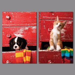 Wholesale Cute Animal kitty puppy children living room kids decoration dog cat canvas print painting wall Art pictures home decor unframed
