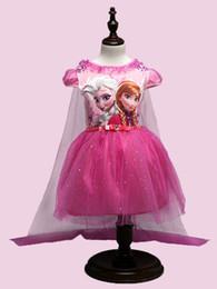 Promotion anna manteau gelé DHL Filles Frozen dentelle paillette manteau robe 2 couleurs enfants belle princesse Elsa Anna dentelle robe cape manches bowknot court