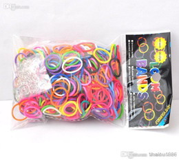 Al por mayor - bandas de silicona pulsera de la venda DIY de la muñeca del arco iris Telar Kit para niños (600 PC + 12 bandas S clips de gancho 1) bandas de goma multicolor desde banda de goma al por mayor del kit de pulsera fabricantes