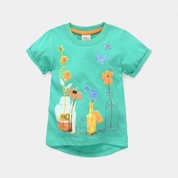 Wholesale Girls T-Shirts Flower Kids Clothes Fashion Children's T Shirt Baby Boys Outfits 100% Cotton Toddler Tops Jumpers