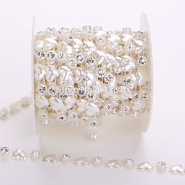 Diy material 8+12mm 10yards rhinestones and ABS heart pearl bead chain wholesale wedding decoration