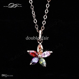 Unique Chic Flower Rhinestone 18K Gold Pated Necklaces & pendants Jewelry For Women Crystal Chains colares Wholesale DFN245