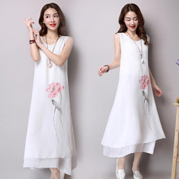 Wholesale Women dress new Summer or spring clothing Plus size Slim Ink printing Cotton and linen Women s Clothing Casual Dresses