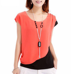 Blue Orange Red Summer style Chiffon Blouses Women Casual Fashion Patchwork Short Sleeve Shirt Tops plus size Blusas Femininas