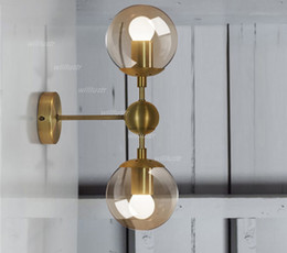 Wholesale Gold modo wall lamp modern wall sconce modo wall light glass shade lighting iron fixture wall lights globe globes golden color