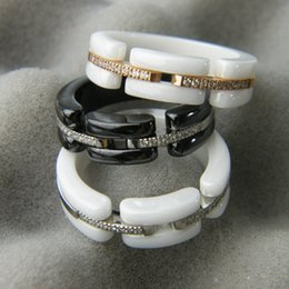 White Black Ceramic Rings with Rhinestone, Rose Gold Silver Metal colors Titanium Stainless steel Women Men Fashion Jewelry ---Size 6 to 11