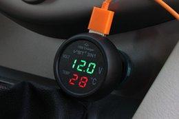 Wholesale 3 in Digital LED car Voltmeter Thermometer Auto Car USB Charger V V Temperature Meter Voltmeter Cigarette Lighter