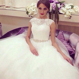 Elegant Plus Size Wedding Dresses Cheap Cap Sleeves Lace Ruched Tulle Sequins Beaded Vintage Princess Bridal Gowns 2016 Cheap Wedding Gown