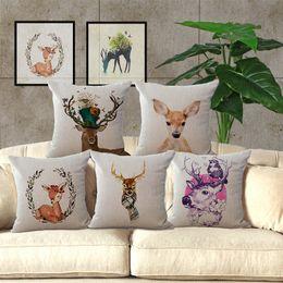 Wholesale Modern Simple Pillow Case Wild Animal Elk Pattern Hunt Club Cotton Linen Chair Square Waist Throw Pillow Cover Home Textile