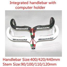 Wholesale White black bianchi full carbon road bike handlebar integrated handlebar400 mm mm handlebar with computer holder