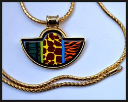 Wild Africa series18K gold-plated enamel necklaces for woman Fan Pendant Necklace colar women necklace