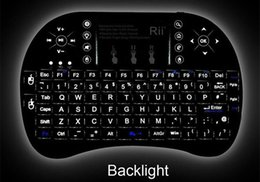 Wholesale 1pcs I8 backlit Fly Air Mouse Mini GHz Wireless Handheld Keyboard Touchpad Remote Control For universal TV box M8S MXQ MXIII