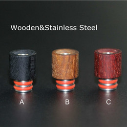 Wholesale Best Wooden Drip Tips Red Wood Stainless Steel Mouthpiece SS Drip Tip Fit Box Mod Atoimzers Ecigs Tanks RDA Atomizer Vapor Vape