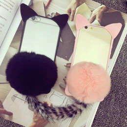 Fur Ball Cell Phone Cases Cats Ears with Transparent Phone Covers for iphone 7 7Plus 6s 6Plus 17