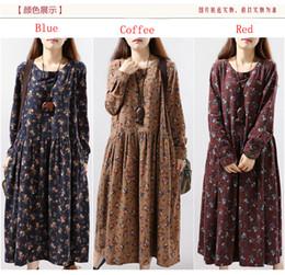 Wholesale 2017 Avant Garde Cotton Linen Autumn Winter Dresses Vintage Small Flower Print Plus Size Casual Loose Long Dress Party Vestidos M XL