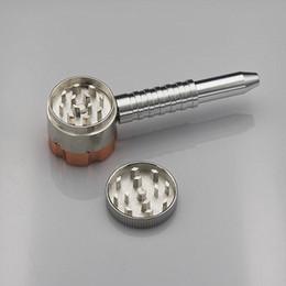 Wholesale smoking pipe with grinder six shooter pipe with grinder two function tobacco pipe and herb grinder herbs grinder