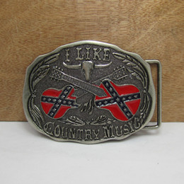 BuckleHome Rebel flag music belt buckle with pewter finish suitable for 4cm wide belt FP-01200 free shipping