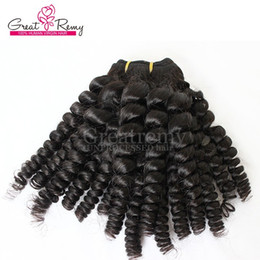 Greatremy® 3pcs lot Aunty Funmi Hair Extensions 8A Brazilian Funmi Sprial Curl Virgin Human Hair Weaves WeftNatural Color Hair Bundles