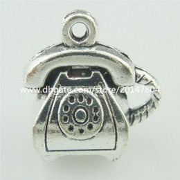 Wholesale 15736 Alloy Antique Silver Vintage Lovely Telephone Set Phone Pendant