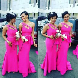 Gorgeous One Shoulder Fushia African Long Bridesmaid Dresses 2016 Satin Beaded Ruffles Mermaid Maid Of Honor Gowns For Wedding Custom Made