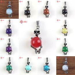 Wholesale 10 Pcs Special Design Punk Style Multi Style Quartz Stone Round Beads Skeleton Pendant Charm Jewelry