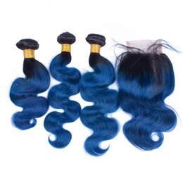 9A Grade Blue Ombre Malaysian Hair With Closure Two Tone Ombre Hair With Closure 3 Bundles Ombre Human Hair Extensions With Lace Closure