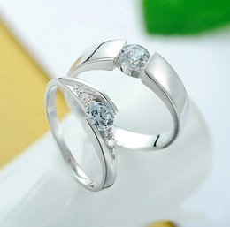 Wholesale Free Sample Sterling Silver Rings Couple Ring Diamond Engagement Ring Wedding Band Set Valentine s Day Gift