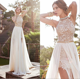 Lace Sexy Backless Beach Prom Dresses Beading Waist Floor Length Split Evening Gowns Special Occasion Wear Cheap