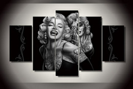 Wholesale Day of the Dead Face canvas wall art painting for home decoration abstract figure painting of Marilyn Monroe