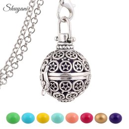 Wholesale Pregnancy Chime Ball Harmony Bola Wishing Ball Star Statement Necklaces Women Gift Baby Angel Caller Cage Locket Necklace with Free Chain