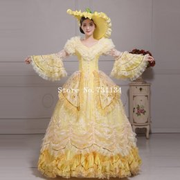 Hot Sale Yellow Lace Medieval Renaissance Marie Antoinette Ball Gowns Women Stage Photography Show Dresses(Includes Hat+Dress)