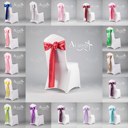 Wholesale Beautiful Satin Bow Wedding Accessories For Chairs Colors Chair Cover Sashes Wedding Decorations In Two Sizes