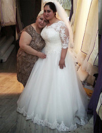 Hot Sale Plus Size Wedding Dresses Half Sleeve Beaded Lace A-line Floor Length Bridal Gowns vestido de noiva Custom W067