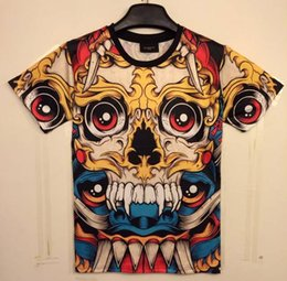 tshirt Classic New Fashion men's 3D t-shirt funny printed Cartoon big red eyes skull top tees 3d Tshirt DT35