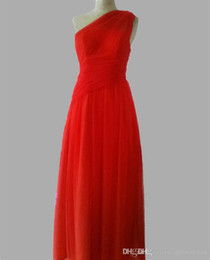Soft Tulle Bridesmaids Formal One Shoulder Dresses Long Fashion Elegant Design Sister Dresses In Red Color