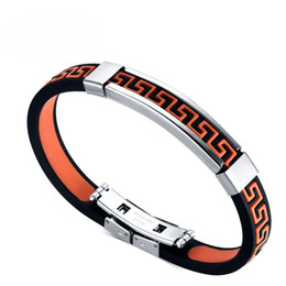Wholesale Price Great Wall Design Charm Titanium Stainless Steel Orange Silicone Leather Bracelet Bangle For Men Women Jewelry