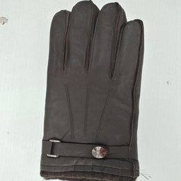 Classic men's sheep leather gloves brown black wool shrink mouth warm gloves wear-resistant leather gloves