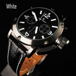 La montre-bracelet pour hommes en Ligne-Sale Noble V6 Orange Numerals Strips Heure Marques Ronde Dial Quartz Analogique en cuir Strape Montre-bracelet hommes